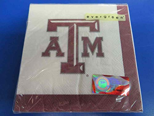 Texas A&M Aggies NCAA Napkins Football Game Day Sports Themed College University Party Supply NFL SEC Basketball Napkins for Beverage for 20 Guests Claret White Paper Napkins