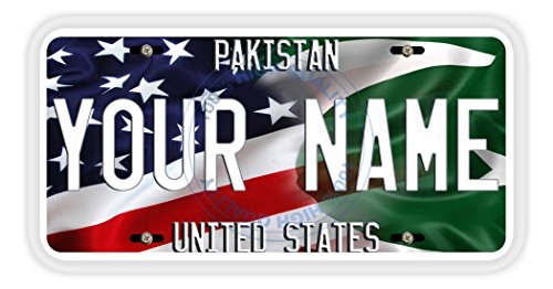 BleuReign(TM) Personalized Mixed USA and Pakistan Flag Car Vehicle License Plate Auto - Pakistani Images New