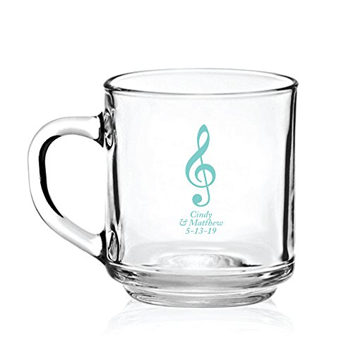 Personalized Color Printed Glass Coffee Mug - Musical Note - Robins Egg Blue - 48 pack by Abby Smith