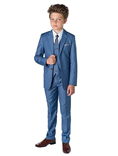 Paisley of London, Sampson Slim Fit Suit, Boys Occasion Wear, Wedding Suit, Chambray, 12 -