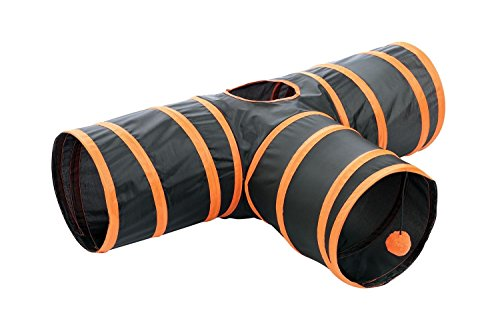 Kitty Fun Tunnel; Collapsible/Portable 3-way Cat Tunnel with Hanging Ball for Cats, Kittens, Rabbits by Etna