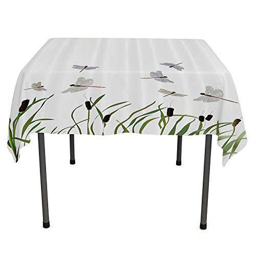 Country Decor Collection table cloths spill proof Flying Small Dragonflies over Tall Reeds Botanical Environmental Artisan Graphic Work speing table cloth Spring/Summer/Party/Picnic 54 By 54