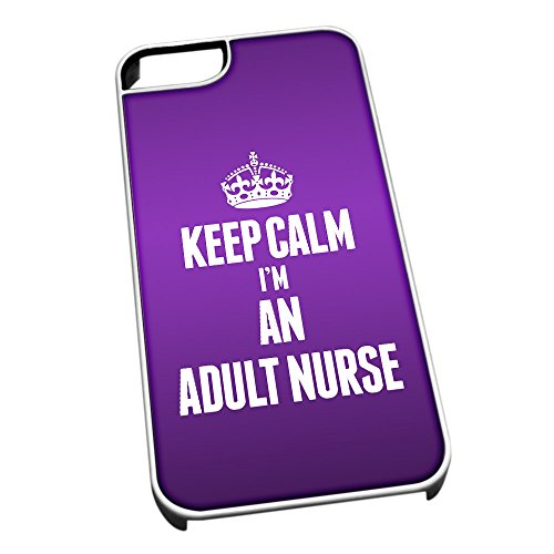 Bianco Cover per iPhone 5/5S 2513 Viola Keep Calm I m un adulto Infermiere