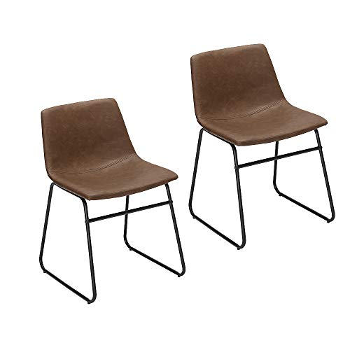 Faux Leather Metal - Furnirfun Set of 2 Vintage Modern Design Dining Chair, Brown PU Faux Leather Seat & Black Metal Base Chair for Dining Room, Living Room, Restaurant and Bedroom