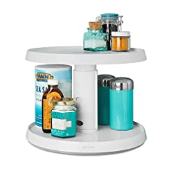 Kitchen YouCopia 2-Tier Height Adjustable Crazy Susan Kitchen Cabinet Turntable and Spice Organizer lazy susans