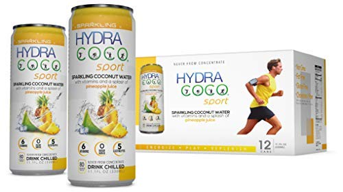 Hydra Coco Sparkling Sport with Pineapple Fruit-100% Pure Coconut Water Drink w/Vitamins and Real Fruit   Best Natural Sports Drink with Electrolytes to Hydrate   Energy & Recovery   Gluten Free & Non