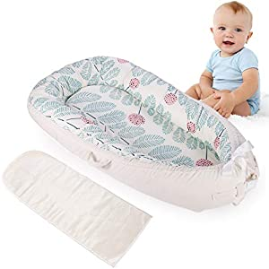 MINGPINHUIUS Baby Nest with Ice Silk Mattress, Portable Baby Lounger Detachable Machine Washable Use in Crib (BN3050)