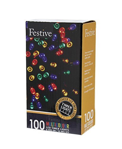 Festive Christmas String Lights, Battery Operated Timer LED, Multicolor, 100 bulbs
