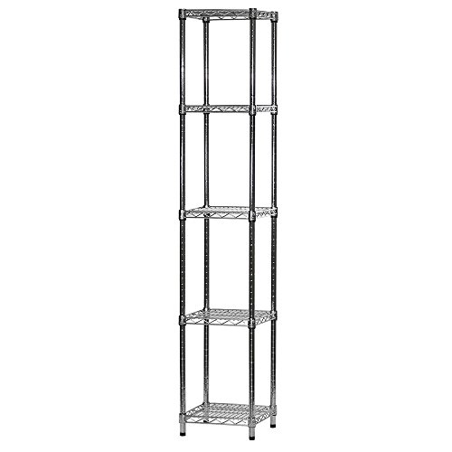 14'd x 14'w x 72'h Chrome Wire Shelving with 5 Shelves
