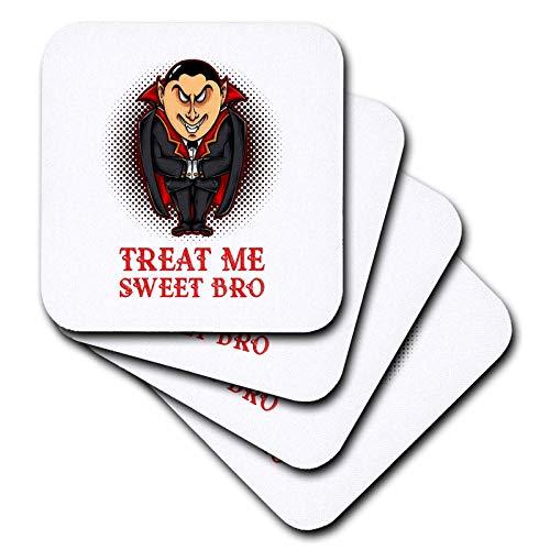 3dRose Alexis Design - Holidays Halloween - Image of an elegant vampire. Treat Me Sweet Bro. Halloween theme - set of 8 Ceramic Tile Coasters -