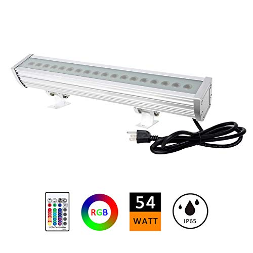 H-TEK 54W RGBW LED Wall Washer Light, Color Changing, Linear Strip Light with RF Remote Controller, 120V, IP65 Waterproof, 1.6ft/20inches Length, LED RGB Light Birthday Party, Carnival (Single - Color Snowman Change