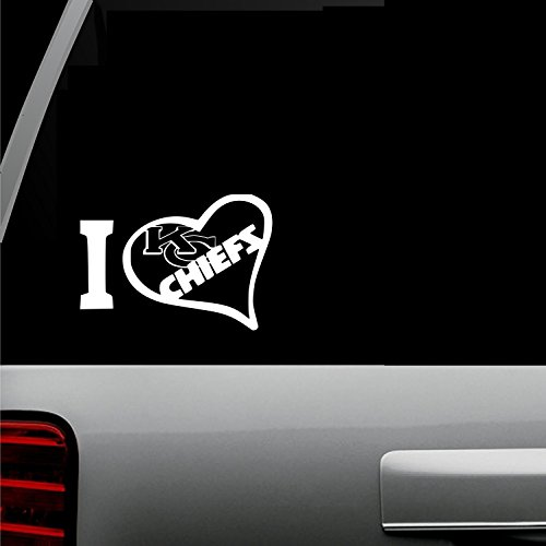 (I Love KC Chiefs(White) Kansas City Auto Vinyl All-Weather Decal Window Car SUV Truck Bumper Sticker Professional Football NFL Black White Red Green Teal 5