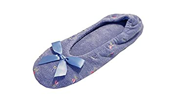 Isotoner Women's Embroidered Terry Ballerina Slippers, Large, Periwinkle Blue 1