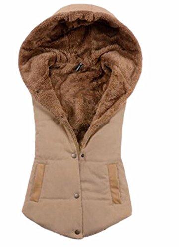 Khaki Hooded Sleeveless Coat Fleece Vest Lined Jacket TTYLLMAO Womens Winter wPUFxqqz7