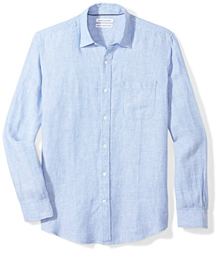 Amazon Essentials Men's Regular-Fit Long-Sleeve Linen Shirt, blue, - Collar Coat Spread