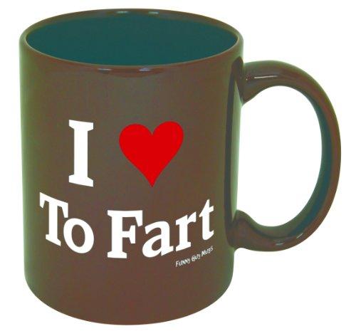 Funny Guy Mugs I Love To Fart Ceramic Coffee Mug, Brown, -