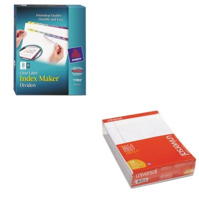KITAVE11993UNV20630 - Value Kit - Avery Index Maker Clear Label Contemporary Color Dividers (AVE11993) and Universal Perforated Edge Writing Pad (UNV20630) by Avery