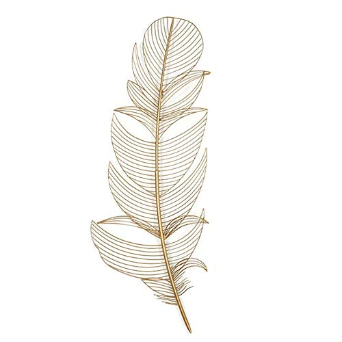 FENFOUBA New Metal Wall Art Sculpture, Wall-Mounted Golden Feather Embossed Pendant, for Indoor and Outdoor Wall Decoration,Free Hanging 3 Size (Size : 107x40x5cm)