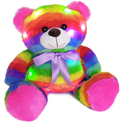 The Noodley 14 inch LED Light Up Rainbow Teddy Bear with Timer Colorful Stuffed Animal Night Light Kids Gift and Birthday Present Gifts for Girls Age 3 4 5 6 Years Old ... (Without Batteries)