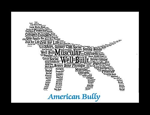 American Bully Dog Wall Art Print - Personalized Pet Name - Gift for Her or  Him - 11x14 matted - Ships 1 Day