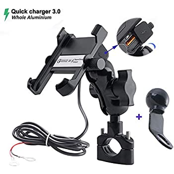 3.3FT Power Cable//Safety Bands//Handlebars Mount from 0.6 to 1.4 in Diameter PROCYMD 2 in 1 Waterproof Motorcycle Cell Phone Mount Holder with USB Charger//Power Switch Black
