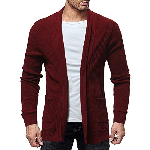iYYVV Mens Fashion Solid Knit Cardigan Sweater Sweatshirts Casual Slim Jacket Coat Red
