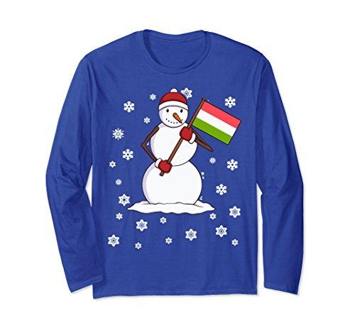 Unisex Hungarian Holiday Gift Flag of Hungary Long Sleeve Shirt Large Royal - Gifts Hungary Christmas