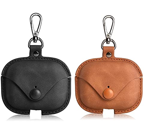 Adlynlife Pack of 2 Premium Faux Leather Cases Compatible with AirPods Pro Case Cover| Genuine Faux Leather Case Metal Keychain | Case (Combo, Black & Brown)