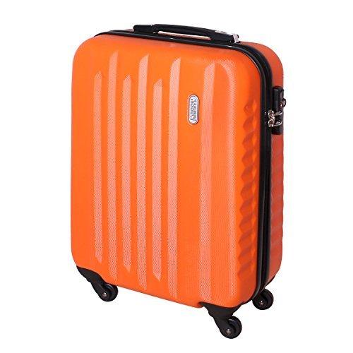 Karry Handgepäck Bordgepäck Hartschalen Koffer für Kurzreisen Urlaub Reisen Businesskoffer Trolley Case TSA Schloss 30 Liter Orange 811