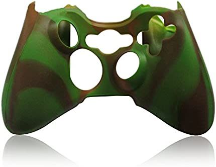 Wireless Game Controller Anti-Slip Silicone Case Skin Protector Cover for Microsoft Xbox 360 video game console controllers CAMO, Brown&Green