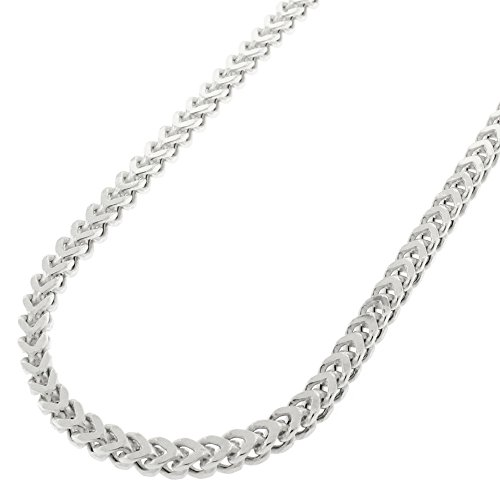 Sterling Silver 3mm Hollow Franco Square Box Link 925 Rhodium Necklace Chain 16