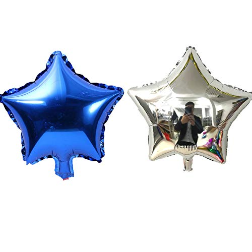 (LOVESHI 10Pcs 10 Inch Five-Pointed Star Foil Balloon Shower Children's Birthday Party Wedding Decor Supplies Kids Balloons 5p Silver 5p Blue 10inch)