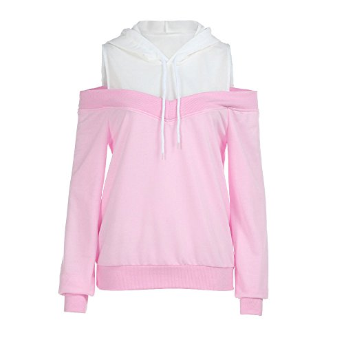 Womens Girls Off Shoulder Casual Long Sleeve Hoodie Sweatshirt Hooded Pullover Tops Blouse Coat Clearance Gift Denver Broncos Pink Zip