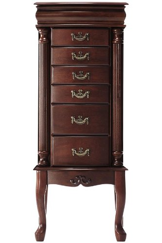 Southern Enterprises Jewelry Armoire, Classic Mahogany Finish with Felt Lined - Stained Mahogany Finish