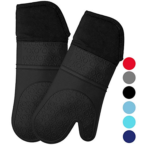 Homwe Extra Long Silicone Oven Mitts with Quilted Cotton Lining - Professional Heat Resistant Kitchen Pot Holders - 1 Pair (Black)
