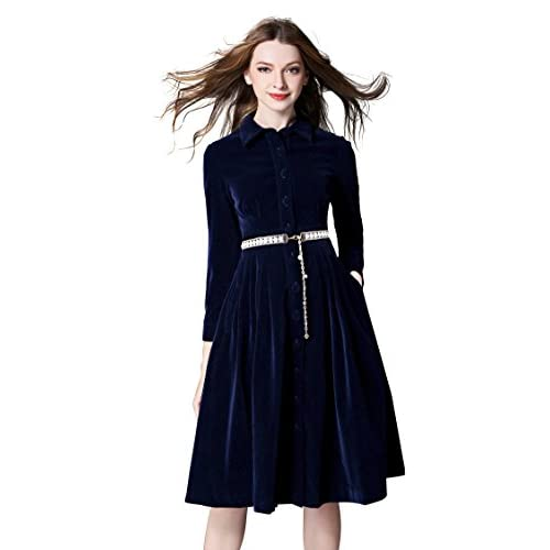 2134aa37fbf0 Women Single-breasted 3/4 Sleeve Velvet A-Line Cocktail Midi Dress With