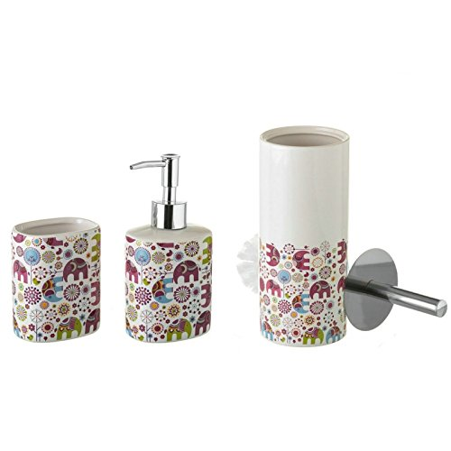 Dcasa - Set de baño Infantil Elefantes de cerámica para ...