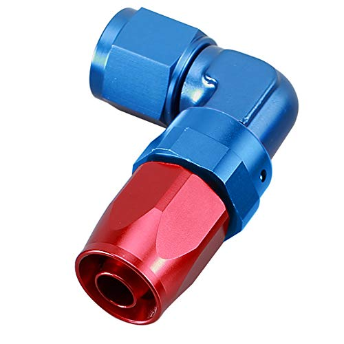 6AN AN6 Red Blue 90 Degree Swivel Elbow Aluminum Low Profile Forged Hose Fittings Female -6 AN 9/16-18 Thread To AN6 Hose End Pipe - Deg Elbow 90 Forged