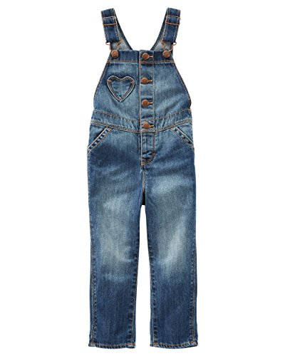 OshKosh Girls Denim Heart Pocket Overalls, Blue, 9-12 Months