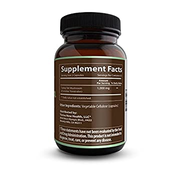 Thrive Now Health Turkey Tail Mushroom Supplement 120 Capsules Natural, Organic Superfood Immune System Support w Essential Prebiotics and Microflora Made in USA