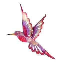 NOVICA Pink and Purple Indoor Outdoor Iron Cutout Wall Sculpture, Violet Hummingbird'