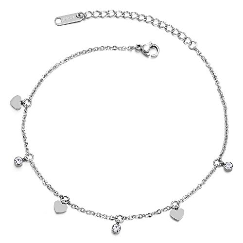 COOLSTEELANDBEYOND Stainless Steel Link Chain Anklet Bracelet with Dangling Charms of Hearts and Cubic Zirconia Circle by COOLSTEELANDBEYOND