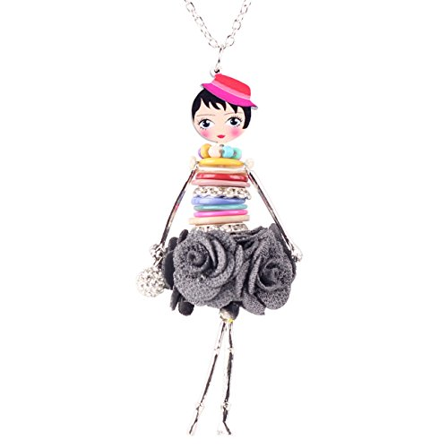 BONSNY Paris Handmade Doll Necklace Dress Pendant Lady Ascott Alloy Metal Crystal Flower Shell Long Chain Fashion Jewelry (Grey) ()