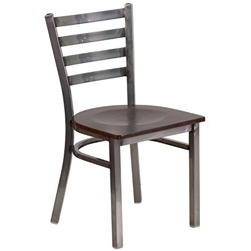 Flash Furniture HERCULES Series Clear Coated Ladder Back Metal Restaurant Chair - Walnut Wood Seat