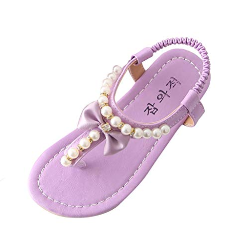Girls Summer Flat Sandals, Pearl Bow T Strap Thong Flip Flop Shoes Bohemian Sandal Water Sandals (Toddler/Little Kid/Big Kid) Purple