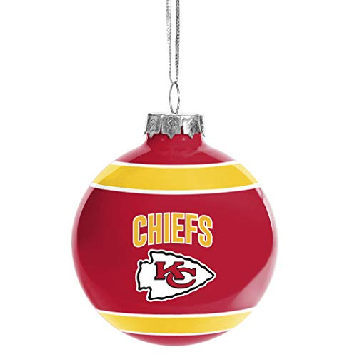 FOCO Kansas City Chiefs Glass Ball Ornament -Limited Edition Chiefs Ornament- Represent The NFL and Show Your Team Spirit with Officially Licensed Kansas City Football Holiday Fan Decorations (Christmas Kansas City)