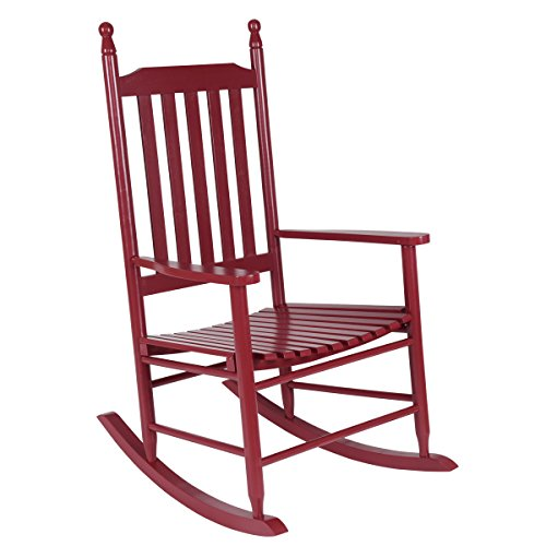 Rocking Chair, Wooden Rocking Chairs for Porch, Patio, Living Room, Porch Rocker for Adults (Red) ()