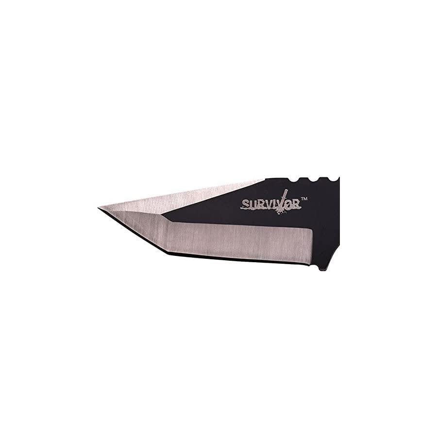Survivor HK 106320 Series Fixed Blade Outdoor Knife, Tanto Blade, Cord Wrapped Handle, 7 Inch Overall