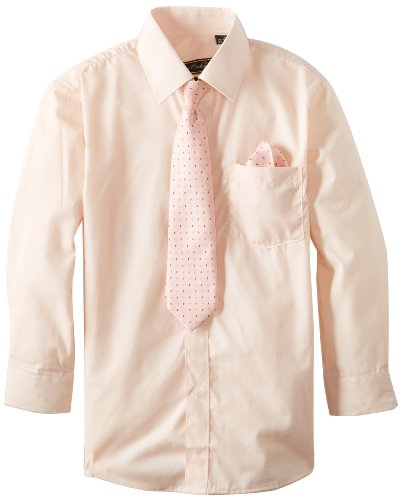 American Exchange Big Boys' Dress Shirt with Tie and Pocket Square, Peach, 10 (Peach Shirt For Boys)