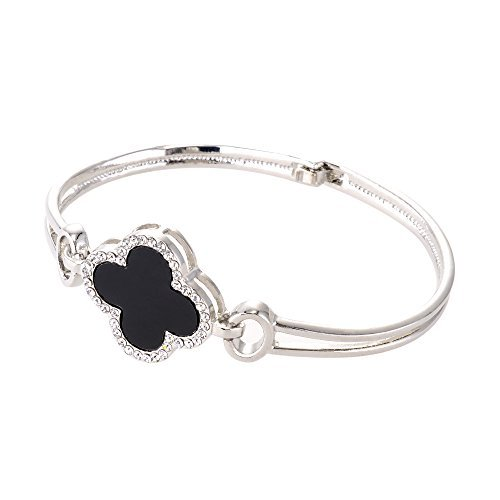 Chiconon Alloy Four Leaf Clover Style Bangle Bracelet - Free Gift Box Included (Free Gift Bracelet Box)